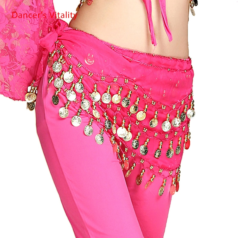 Belly Dance Belt Costumes Sequins Tassel Belly Dance Hip Scarf for Women Belly Dancing Belts Indain Wavy Line Coin Dance Belt