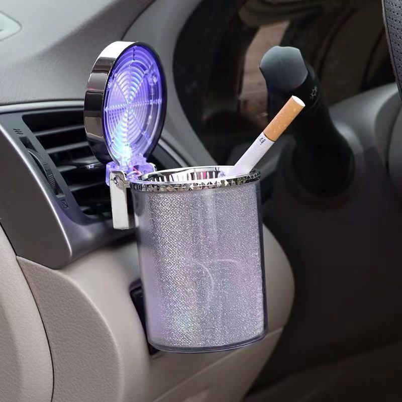 Автомобильная пепельница со светодиодный светильник пепельница для сигарет и сигар контейнер пепельница газовый баллон из нержавеющей ст...