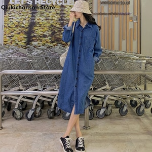 Spring Autumn Casual Vintage Turn-Down Collared Long Denim Shirt Women Korean Style Button Up Shirt Long Sleeve chemise femme