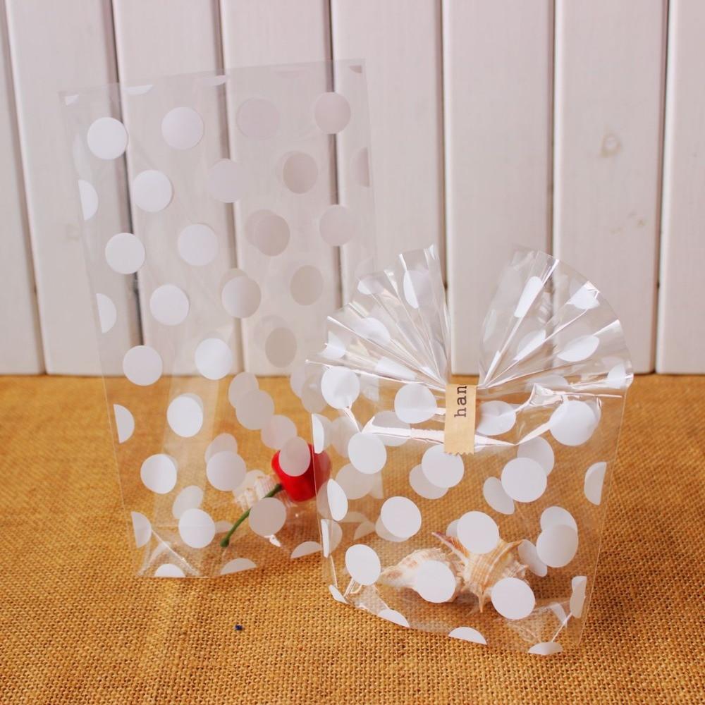 Białe kropki przezroczyste torebki na ciastka-worek celofanowy-torby cukierkowe 200 sztuk/partia