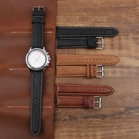 22mm retro genuine leather watch band high quality handmade wristband black watch strap replacement stainless steel buckle