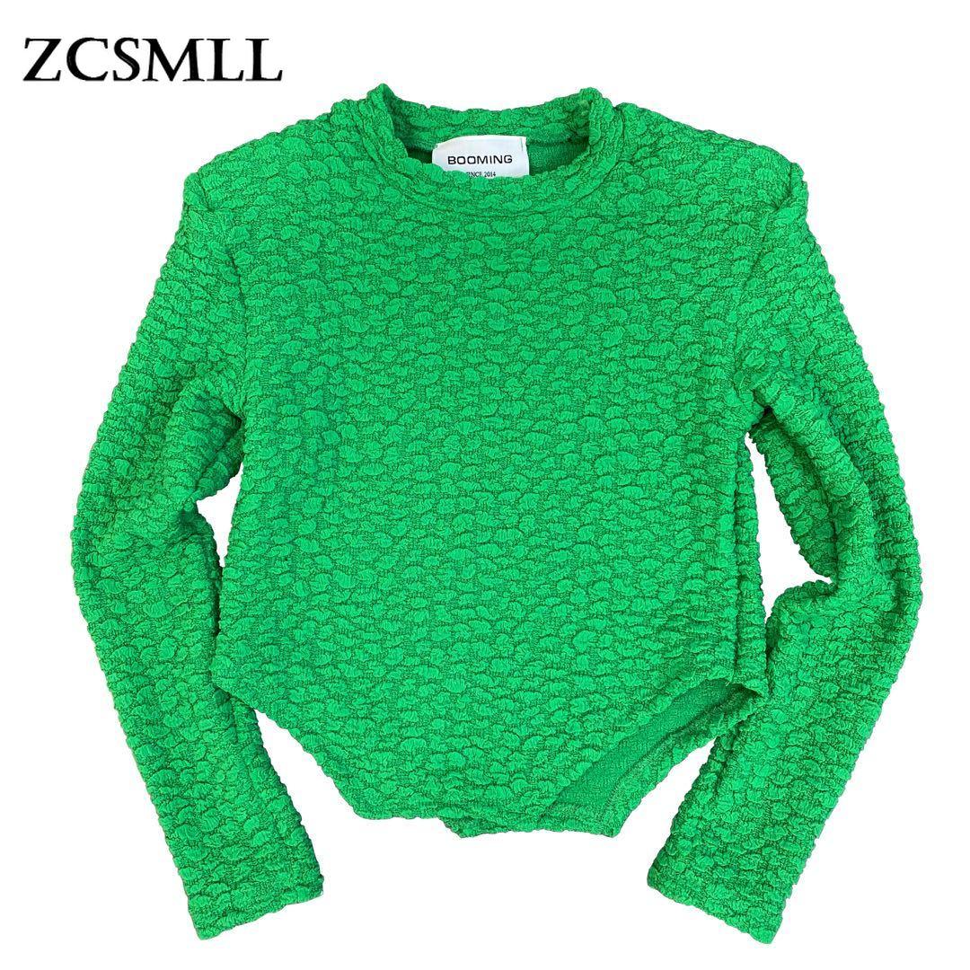 ZCSMLL 2021 الخريف والشتاء الرقبة المستديرة الكتف وسادة طويلة الأكمام ثلاثة الأبعاد فقاعة نمط الظلام غير النظامية هيم سليم قميص