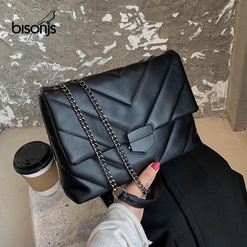 BISONJS Embroidery Thread Small PU Leather Crossbody Bag for Women 2020 Trend Hand Bag Women's Branded Trending Shoulder Handbag