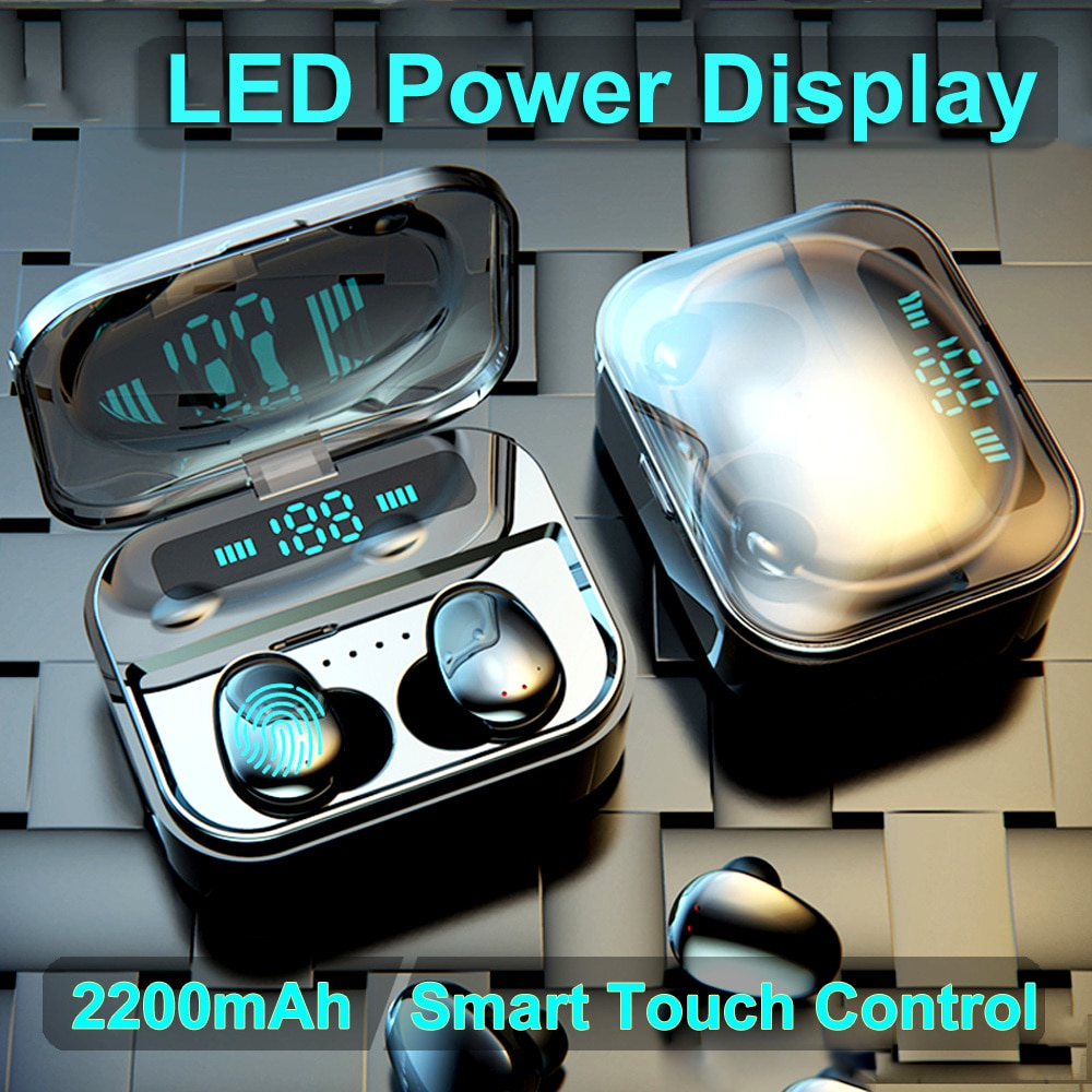 X7 5.0 fones de ouvido bluetooth sem fio tws estéreo fone com 2200 mah power bank display led ipx7 à prova dwaterproof água