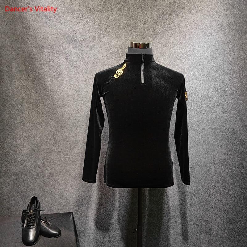 ملابس ممارسة الرقص اللاتينية للرجال قميص أسود بأكمام طويلة ملابس أداء الرقص للبالغين قميص وقميص للرقص تشا تشا