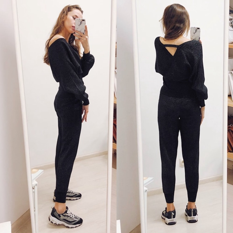 Tow Piece Sweater Tracksuits Women Harrem Pants + Double V Neck Pullover Sweater Set Autumn Winter Knitted Clothing enlarge