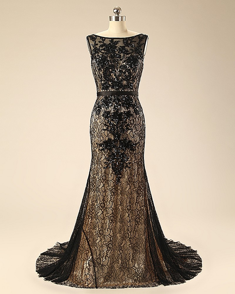 2018 Special Occasion Real Photos Black Lace Beading Sexy Formal Long vestido de festa Evening gown mother of the bride dresses
