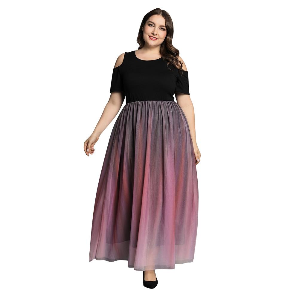 5XL Plus Size Dress Robe Gradient Printed Long Dress Women Summer Short Sleeve Patchwork Dress Female Party Maxi Dresses D30