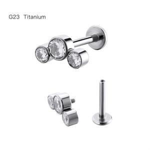 LOT10pcs Body  Jewelry -16GX8/10MM G23 Titanium Clear Gems  Lip Labret Ring Bar Lip Piercing Ear Helix Bar Piercing Jewelry