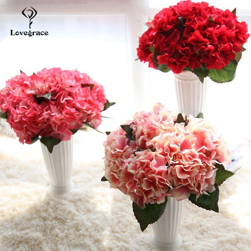 Big Artificial Flower Hydrangea Silk Flowers Branch Red White Faux Flores For Wedding Home Vase Desk Decor Fake Flower Bouquet