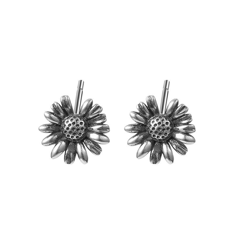 100% Real 925 Sterling Silver Retro Little Daisy Flower Stud Earrings For Women Trendy Party Fine Jewelry Accessories Gift 2021