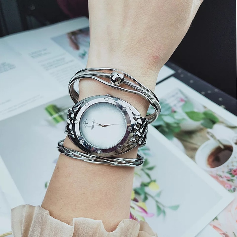 Women Watches Bracelet set Creative Big Dial Ladies Watch Casual Quartz Wristwatch With Bracelets 3 Pcs sets Relogio Feminino enlarge