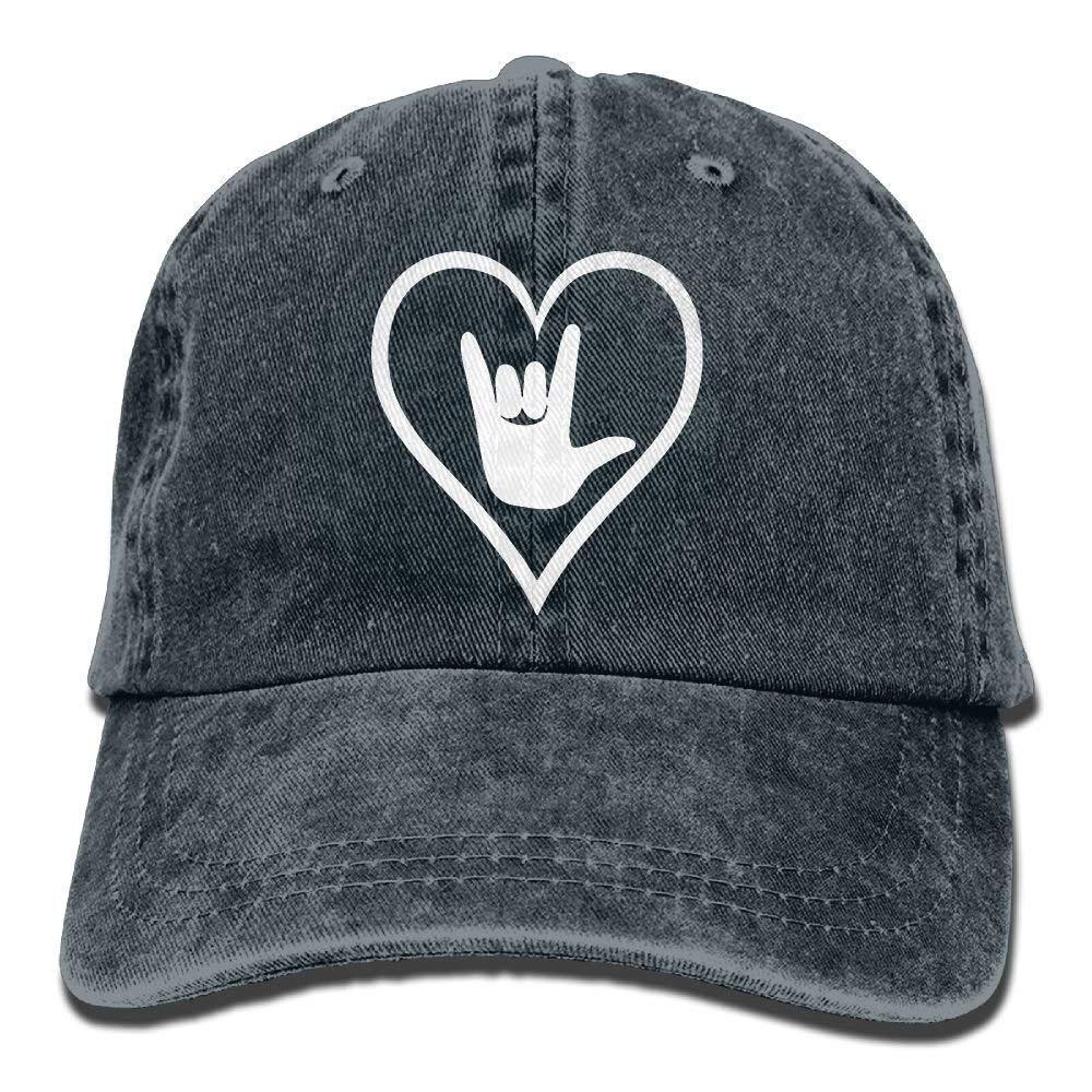 Gorra de béisbol ajustable ASL (idioma de signo Americano) I Love You Yarn-Dyed Denim