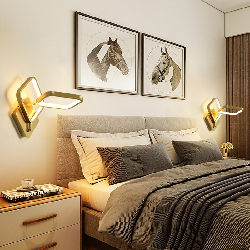 FSS Modern Wall Lamp Simple And Creative 360 Rotating Adjustable Bedside Bedroom Living room Nordic TV Wall Background lamp