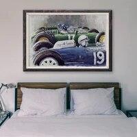Peinture classique de voiture de course retro T132  voiture bleue et verte  99  affiche en soie personnalisee  decoration murale  cadeau de noel