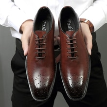 Pointed Toe British Style Oxfords Men Dress Shoes Genuine Leather Imported Shoes Italian brogues Cow
