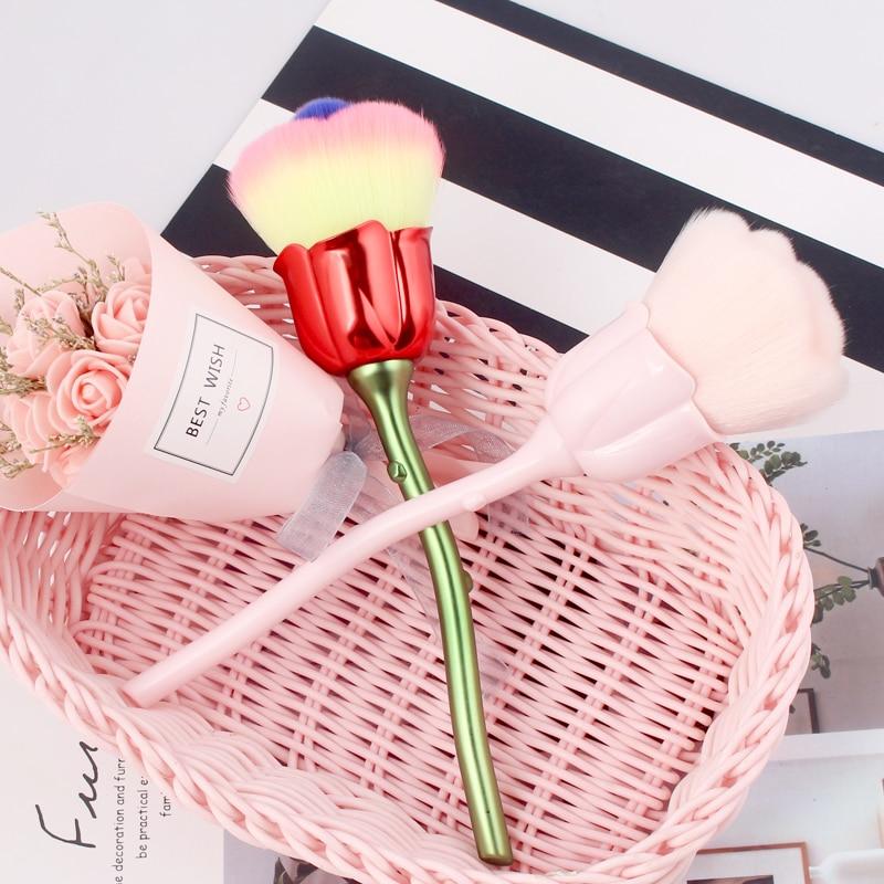 1pc Rose Flower Shape Blush Foundation Powder Make Up Brushes Women Cosmetics Nail Art Brush Soft Cl