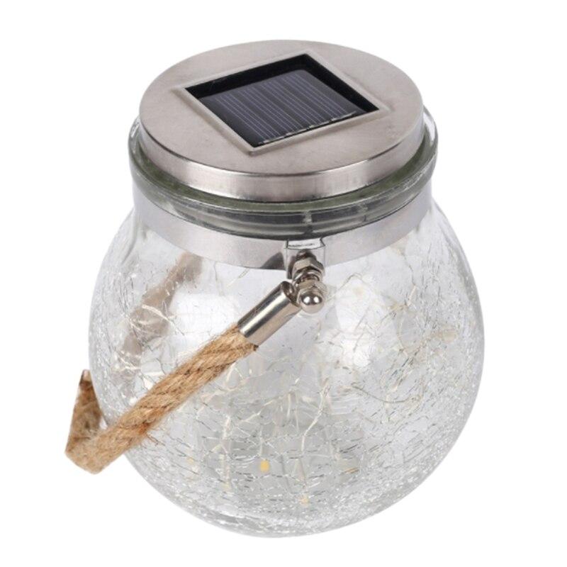 Luces colgantes de tarro de cristal Solar al aire libre 30LED mango de acero inoxidable impermeable luces solares de jardín para fiestas de sala