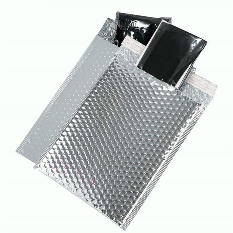 حقيبة بريد فقاعية فضية 18 × 23 سنتيمتر ، 50 قطعة ، حقيبة مبطنة ذاتية الختم ، أكياس بريد ، تغليف هدايا ، تخزين