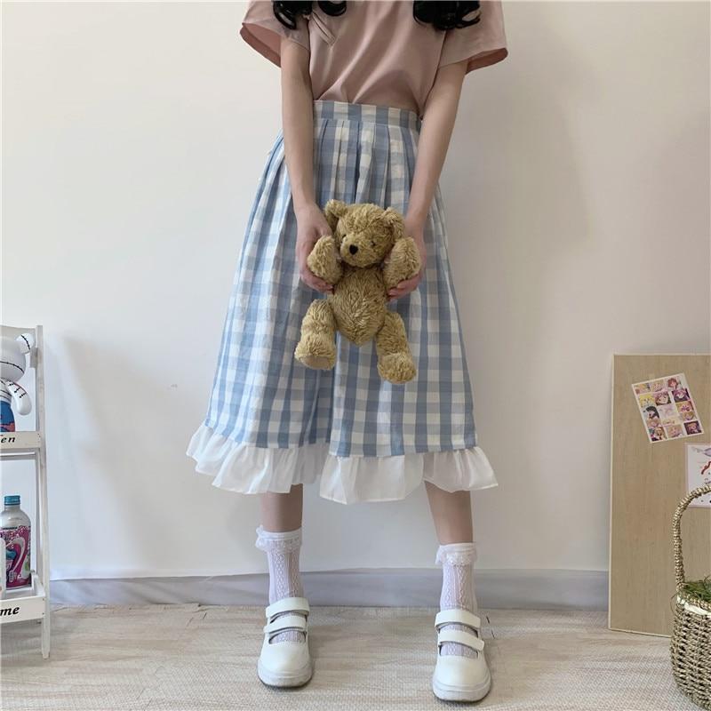 Korean Sweet Ruffles Summer Skirt Cute Plaid A-Line High Waist Female Elastic Waist Women Midi Skirt Harajuku Basic Long Skirt