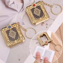 Hommes femmes porte-clés bibelot voiture porte-clés bijoux résine musulmane islamique Mini arche coran livre vrai papier peut lire pendentif porte-clés