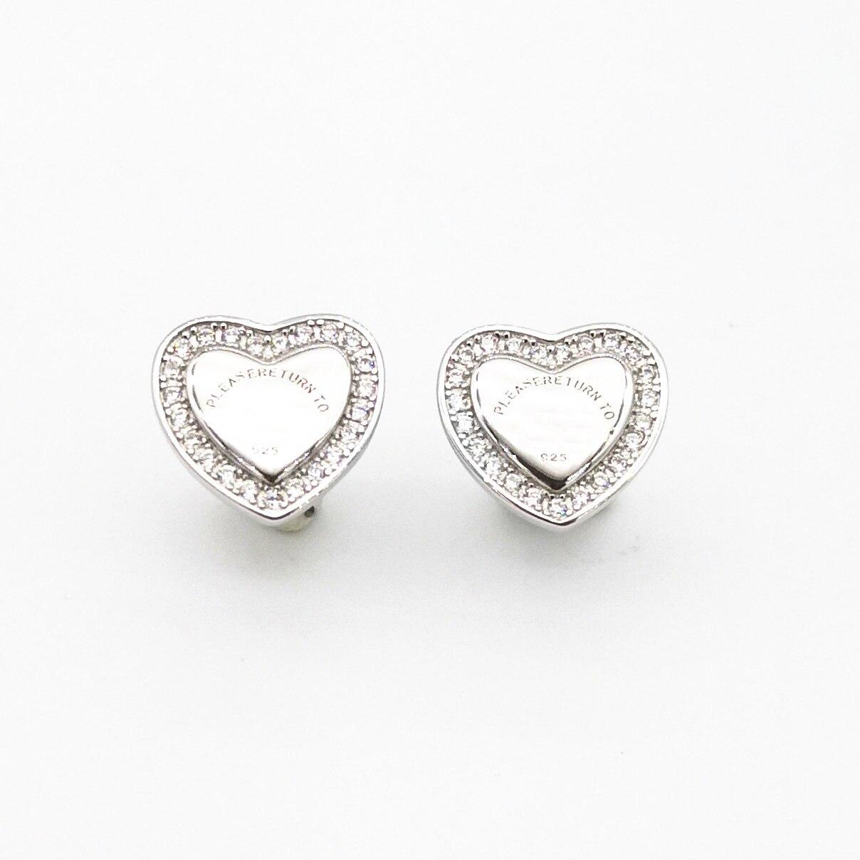 Women's Sterling Silver Classic Rose Gold Heart Shaped Zircon Stud Earrings Sterling Silver Heart Stud Earrings недорого