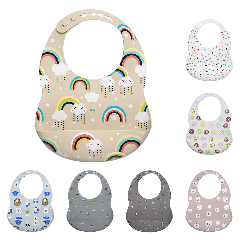 New Printed Silicone Bib Waterproof Newborn Baby Feeding Cartoon Aprons Adjustable Baby Bibs Bur