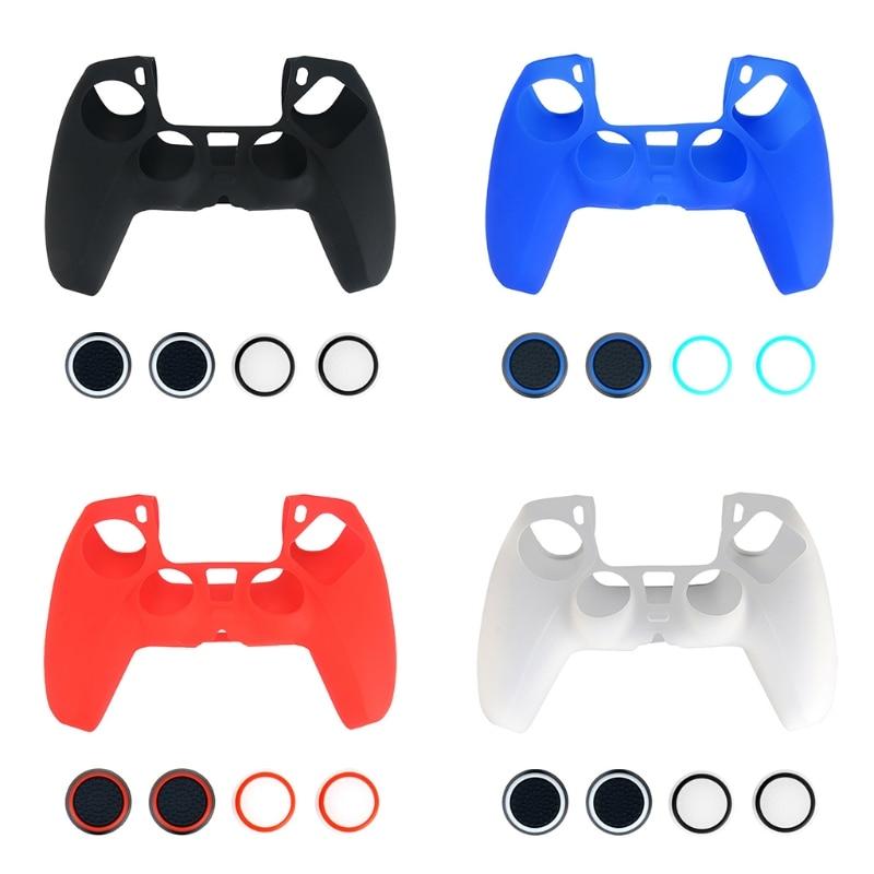 Защитный чехол силиконовый чехол для кожи джойстик для пальца ручки противоскользящая крышка для Sony PlayStation PS5 контроллер