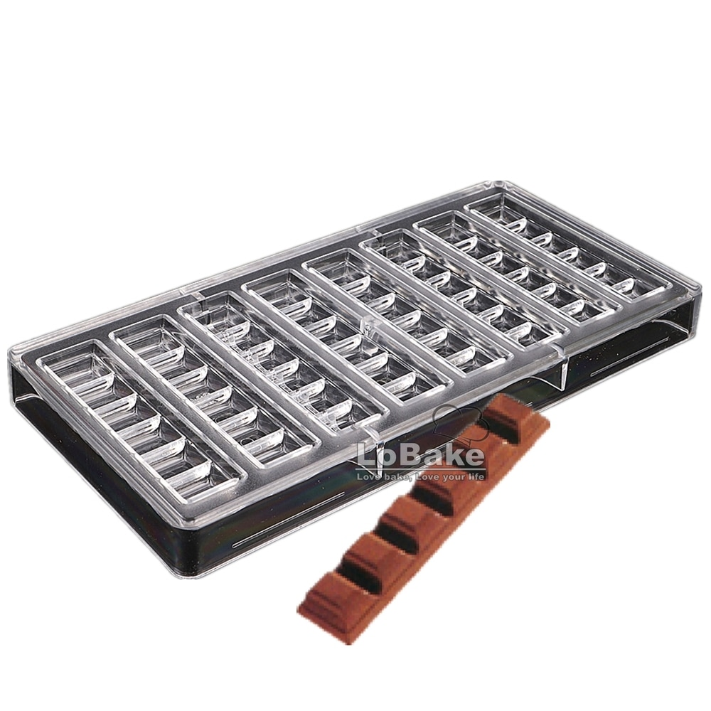 8-rectángulo largo en forma de cubo PC molde de policarbonato para chocolate caramelo praliné de moldes de hielo moldes DIY Hornear en Casa cosas