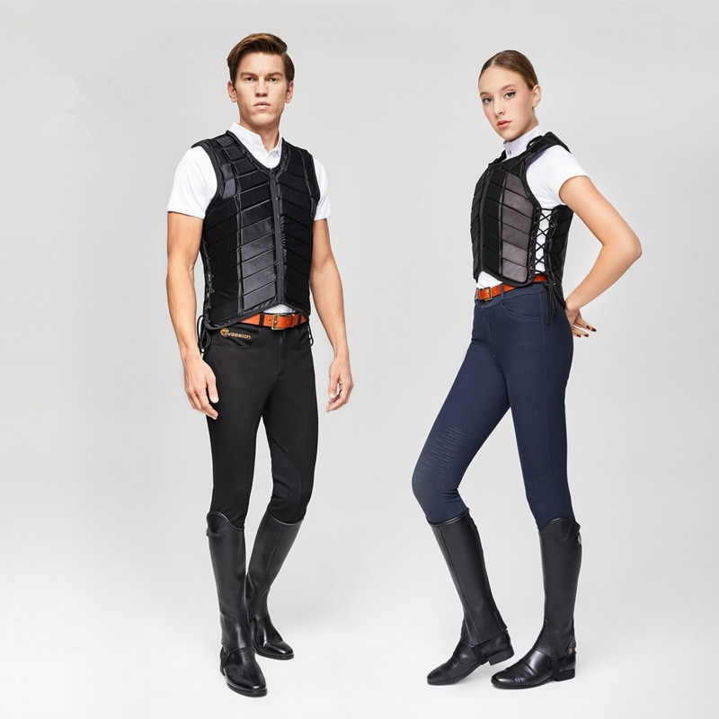 Horse Riding Vest Adults Kids Equestrian Protective Horse Vest Horse Riding Vest Body Protector Safety Waistcoat Black