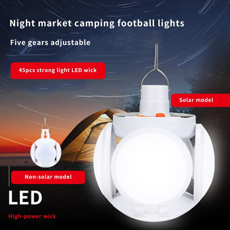 Solar Rechargeable LED Energy-Saving Bulb Light Outdoor Mobile Stall Night Market Lighting Camping Light Multifunctional Outdoor led chargeable light outdoor plaza stadium mobile emergencyportable searchlight with sos waring lighting