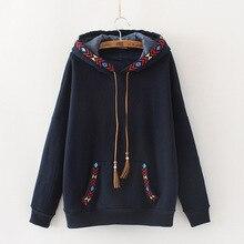Ethnique broderie Vintage vestes à capuche femmes automne hiver chaud polaire daim gland corde à capuche pulls à capuche dames sweat à capuche