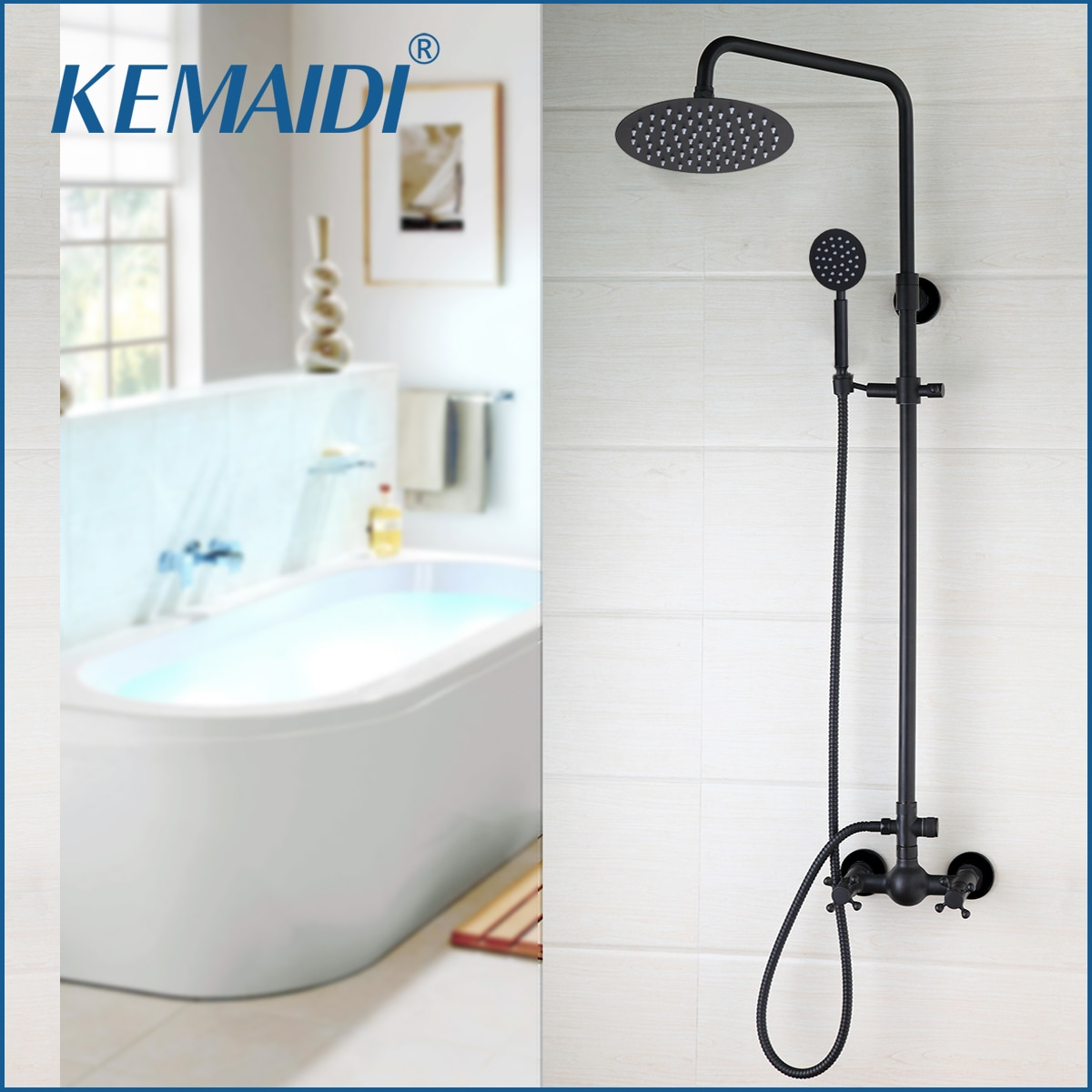 KEMAIDI Black Wall Mount Rainfall 8 Inch Round Head Hand Spray 2 Functions adjustable Hand Bathroom Shower Faucet Set Mixer Taps