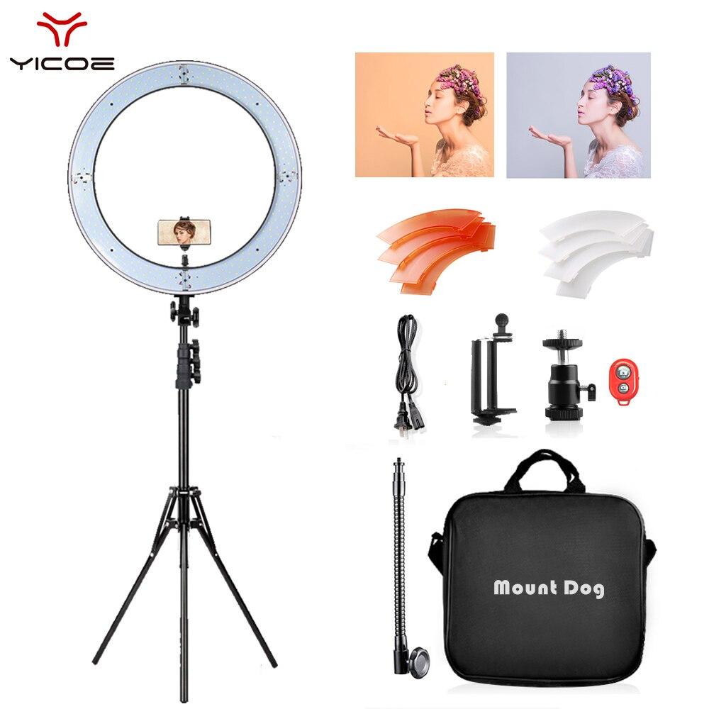 Lámpara de anillo LED de 18 pulgadas con trípode de 200CM, anillo de luz para Selfie para maquillaje YouTube regulable para estudio de vídeo y fotografía, luz de fotografía