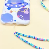 blue wood beads chain mobile phone hanging rope lanyard holder rope fashion decoration for women