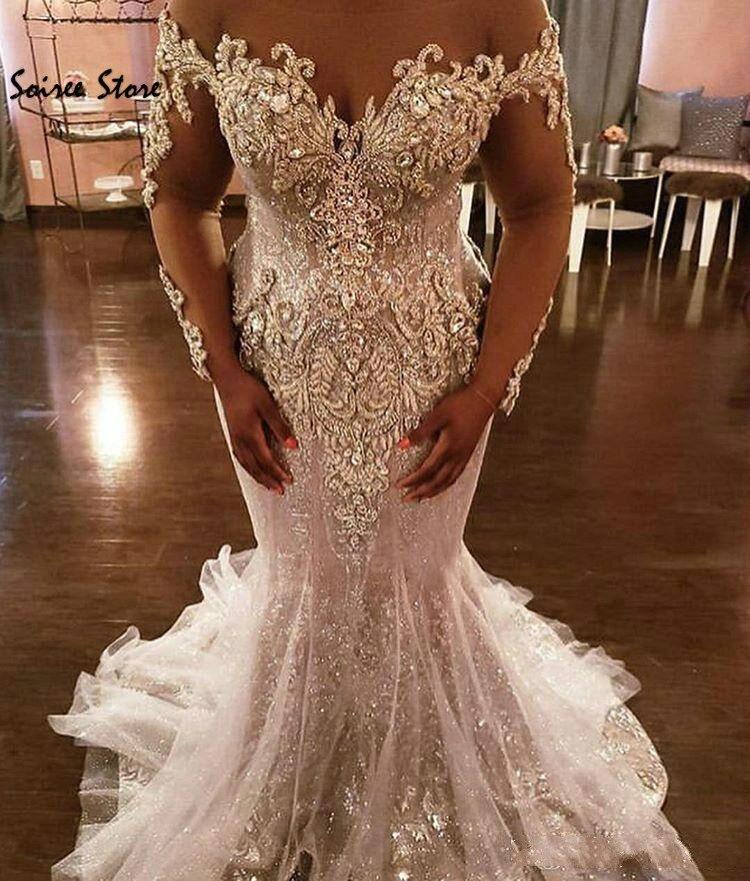 Bling Spark sirena vestidos de novia africanos de talla grande, vestidos de boda de país con cristal de manga larga, vestido de novia de lujo 2020