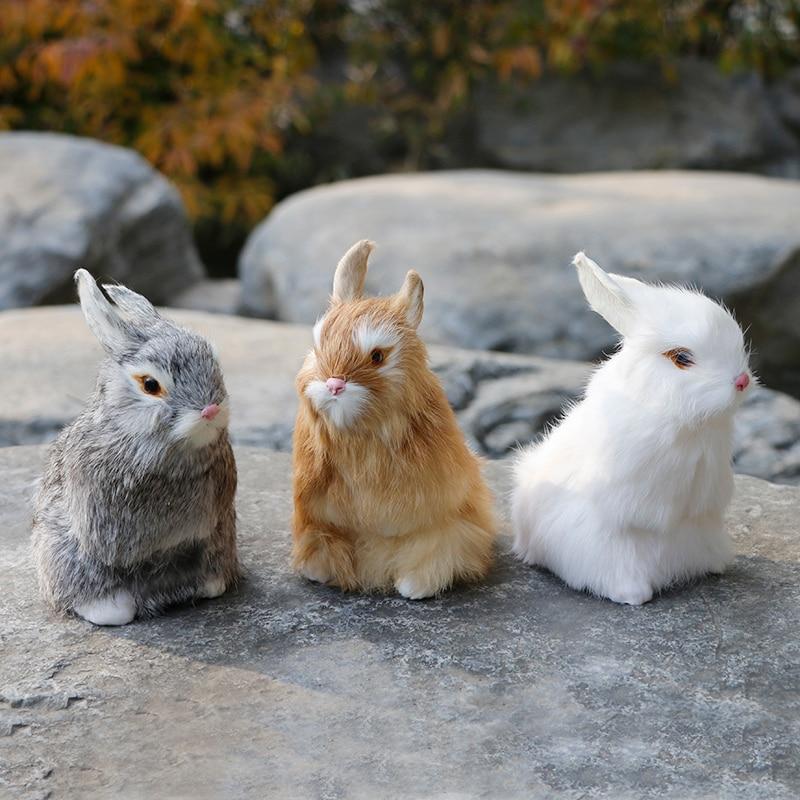 Rabbit simulation rabbit animal model three-color high 16cm rabbit decoration home decoration zakka handicraft недорого