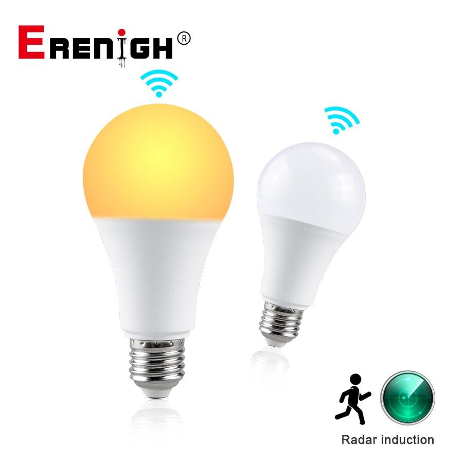 Bombillas LED E27 bombilla de luz con Sensor de Radar 10W 15W 20W 85-265V inteligente de movimiento lámpara de Sensor para escaleras de pared de porche funciona en la oscuridad