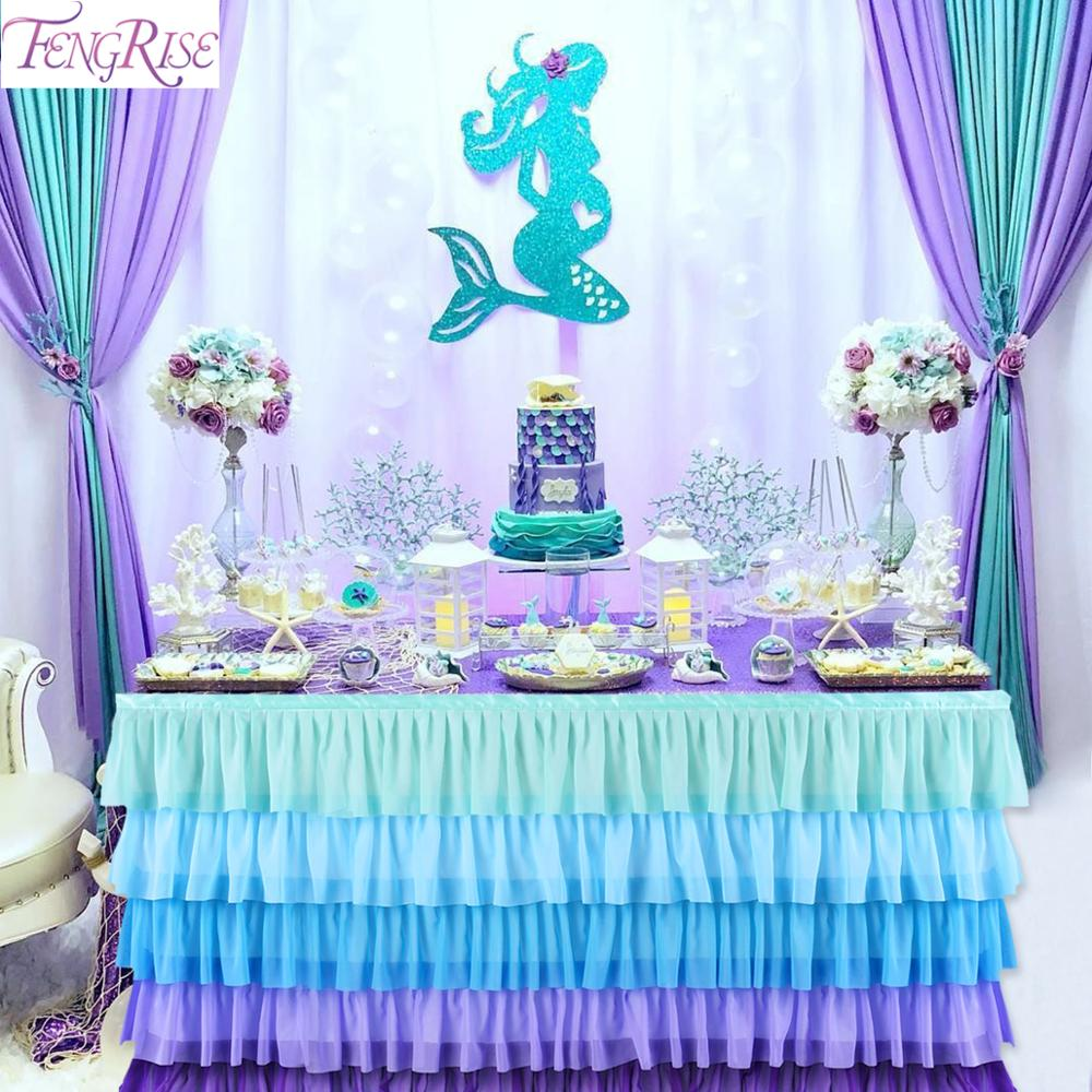 Falda de mesa azul Blanca Rosa para la decoración de la fiesta de cumpleaños de la boda Baby Shower Little Mermaid Party supplies 1 er cumpleaños de unicornio