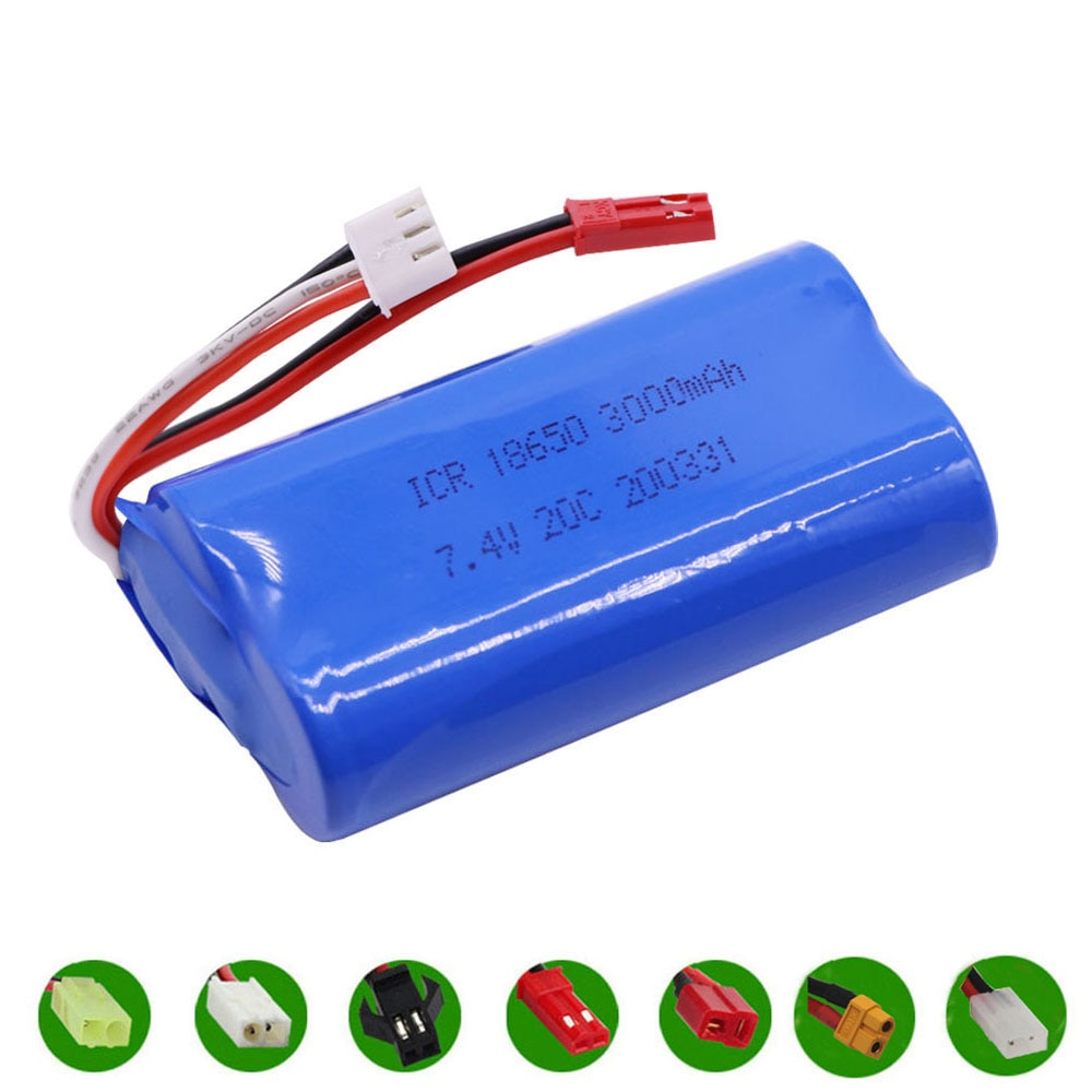 7.4V 3000mAh 2S 18650 lipo battery For Udi U12A Syma S033g Q1 H100 H101 H102 H103 FT009 rc boats mod