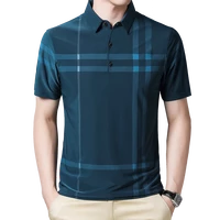 business polo shirt men summer new casual loose breathable anti wrinkle short sleeved plaid men polo shirt men tops