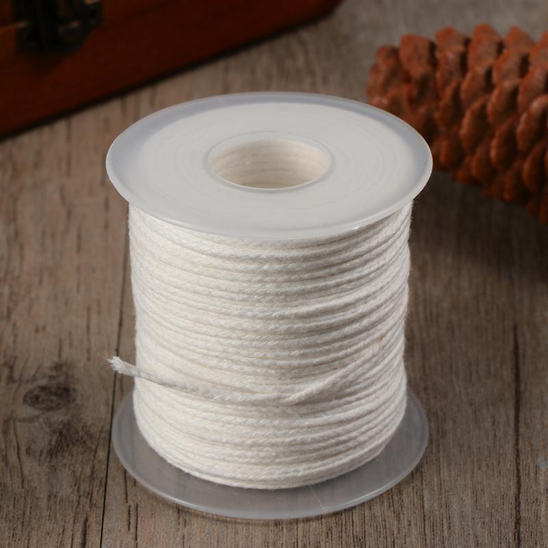 Mechas preenceradas de 1 rollo, fabricación de velas, Material DIY de algodón, 32 hebras trenzadas, mechas para velas DIY