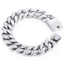 Davieslee Curb Cuban Link Bracelet Mens Bracelet Fashion Jewelry 316L Stainless Steel Silver Color 18mm DHB471