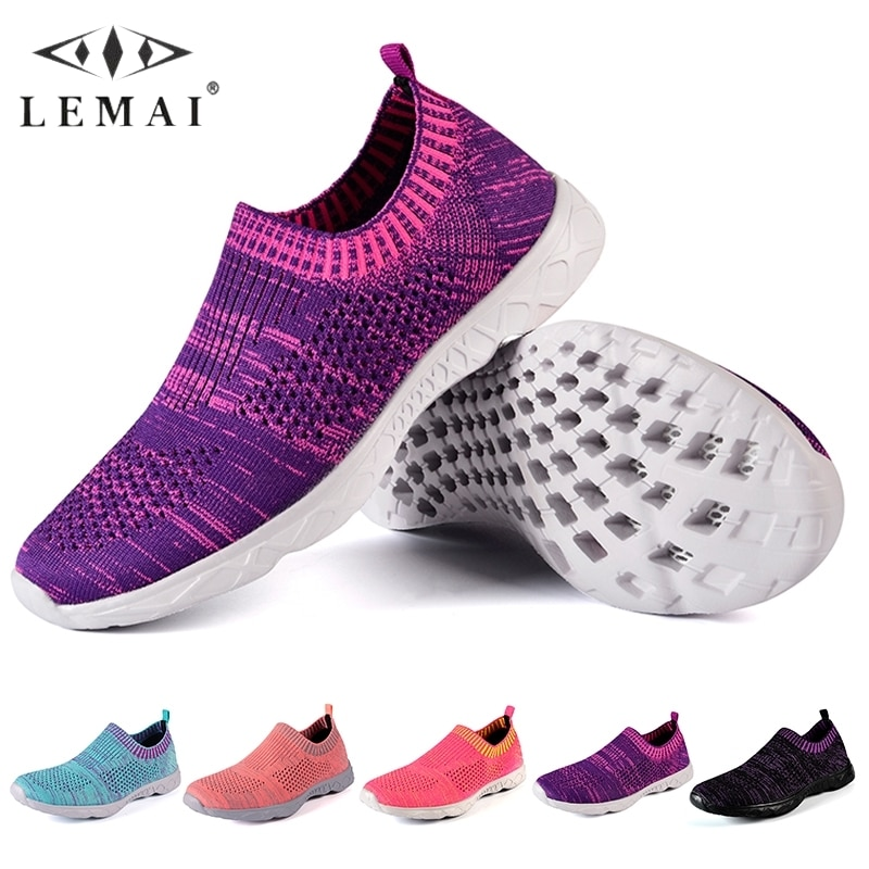 LEMAI Brand Summer Mesh Sports Shoes Women's Casual Breathable Sneakers Comfortable Soft Flats Slip-on Comfortable Light Shoes