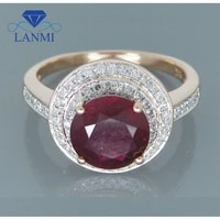 lanmi vintage natural ruby engagement rings solid 14kt rose gold natural red ruby ringgenuine ruby jewelry