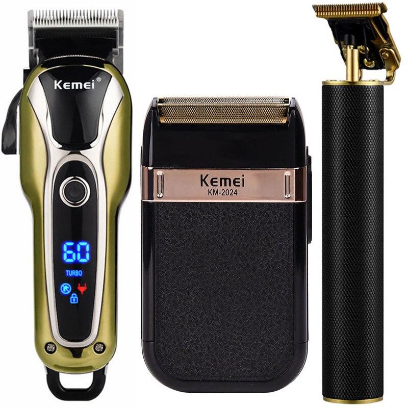 Kit de acicalamiento profesional para hombres, cortador de pelo inalámbrico, Maquinilla de cortar el pelo de barbero, afeitadora de precisión para tallado