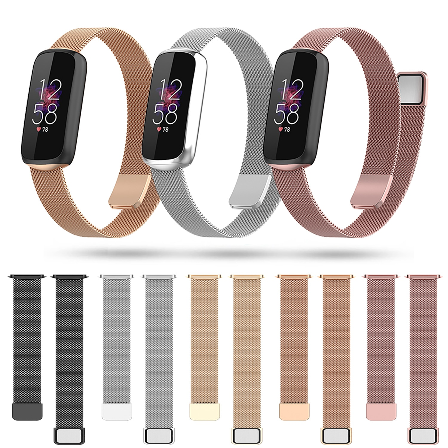 Wrist Strap For Fitbit Luxe Metal Watch Band For Fitbit Luxe Stainless Steel Bracelet Adjustable Loo