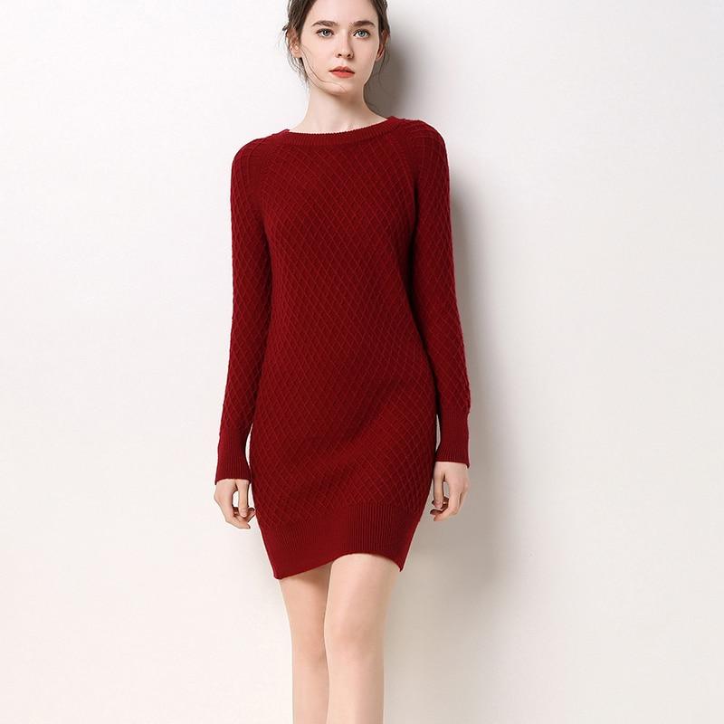 BARESKIY Cashmere Sweater Women's O-Neck Knit Sweater 100% Cashmere Long Solid Color Slim Turtleneck Warm Long Women's enlarge