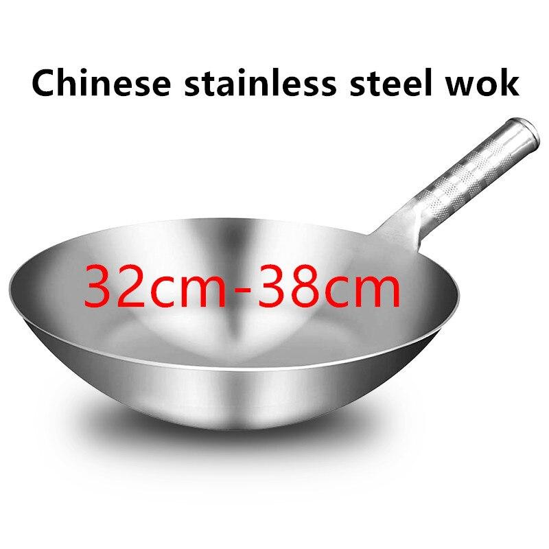 الفولاذ المقاوم للصدأ ووك 1.8 مللي متر سميكة عالية الجودة الصينية اليدوية ووك التقليدية غير عصا الصدأ الغاز ووك طباخ عموم الطبخ