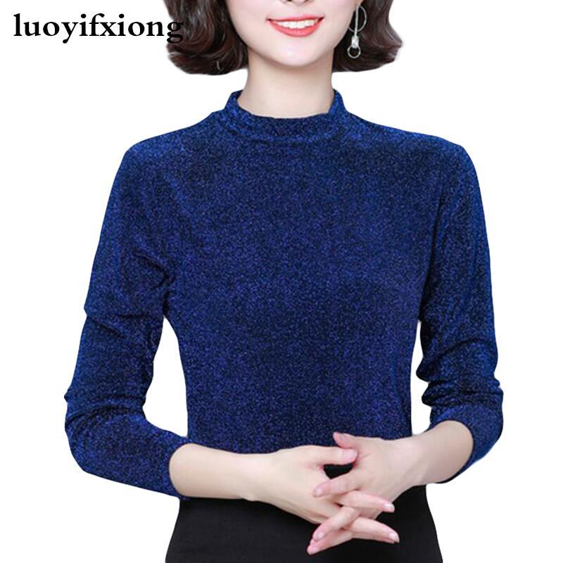 Blusa ceñida Coreana de encaje con manga larga para Seda brillante, camisa...